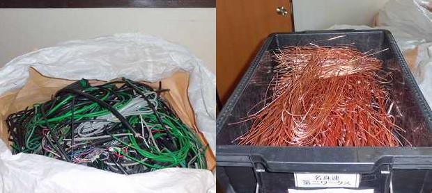 剥離前と剥離後の電線
